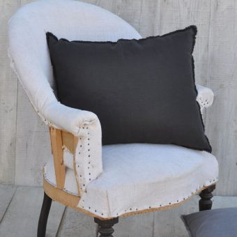 washed soft black linen pillow