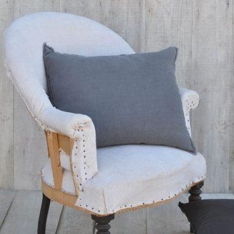 washed soft grey linen cushion