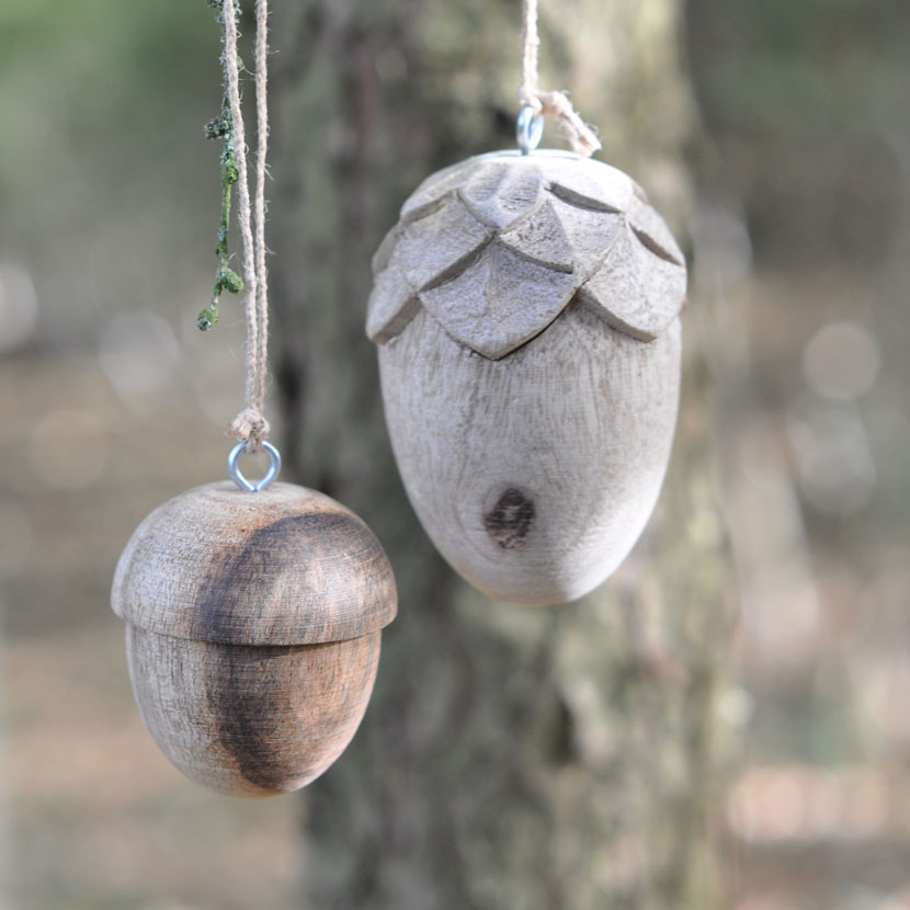 wooden acorn Christmas decoration