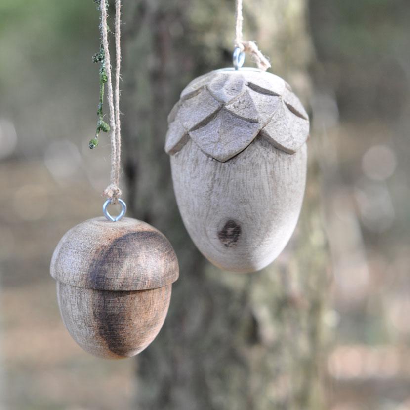 Wooden Acorn Christmas Decoration