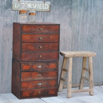 Antique watchmakers bank of drawers