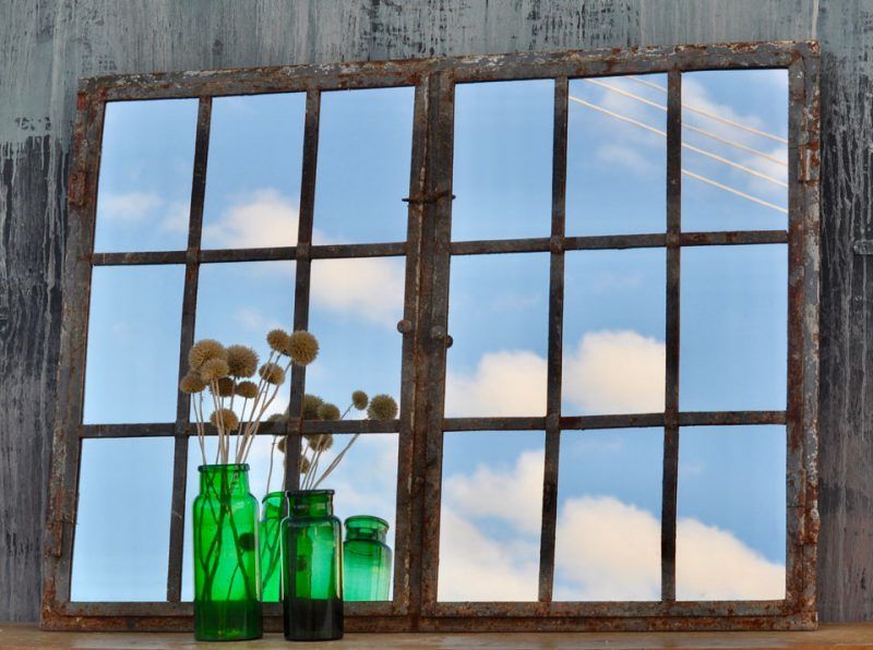 Industrial Warehouse Window Mirror Cast Iron