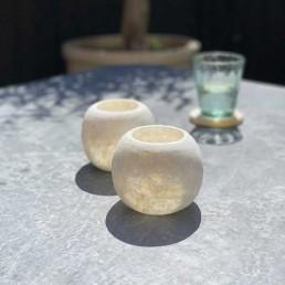 alabaster marble tea-light candle holder