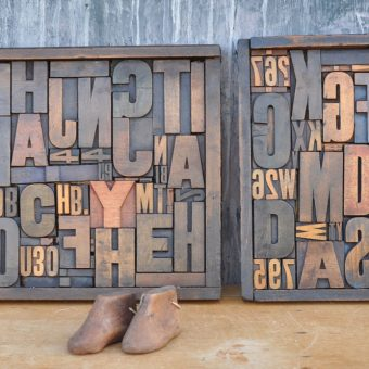 antique letterpress wooden printing blocks artwork