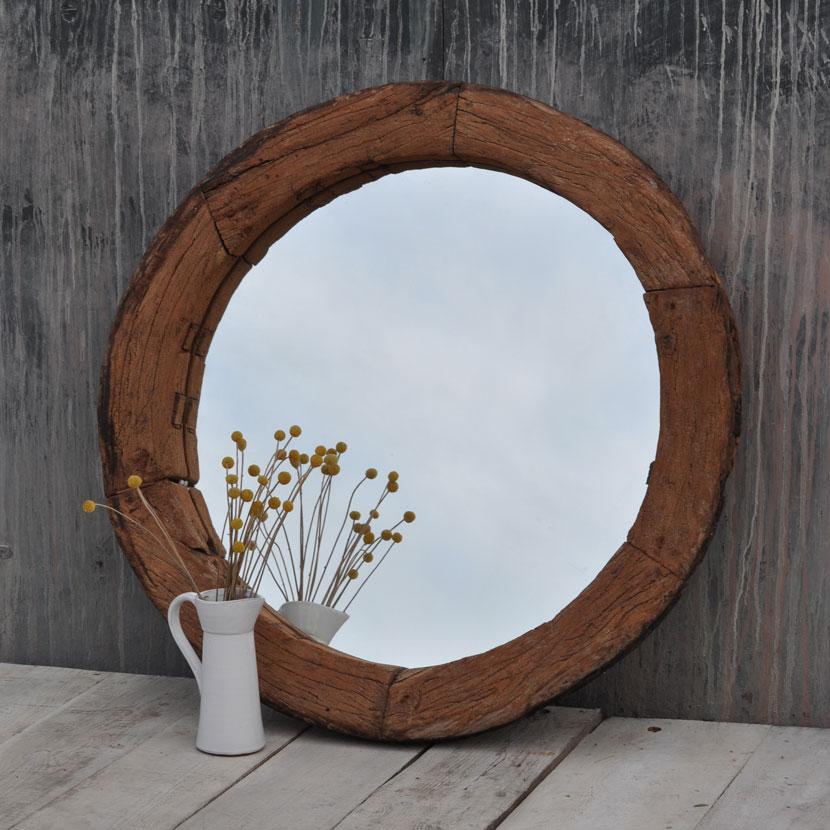 round rustic wooden vintage mirror