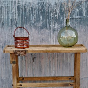 vintage workbench console with vice
