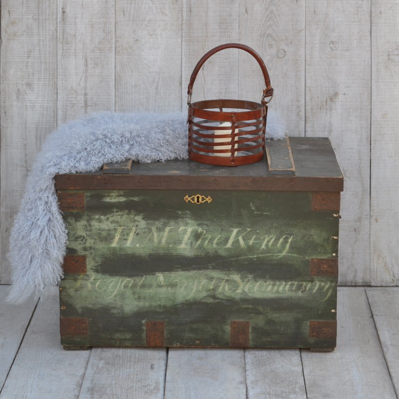 antique painted military trunk