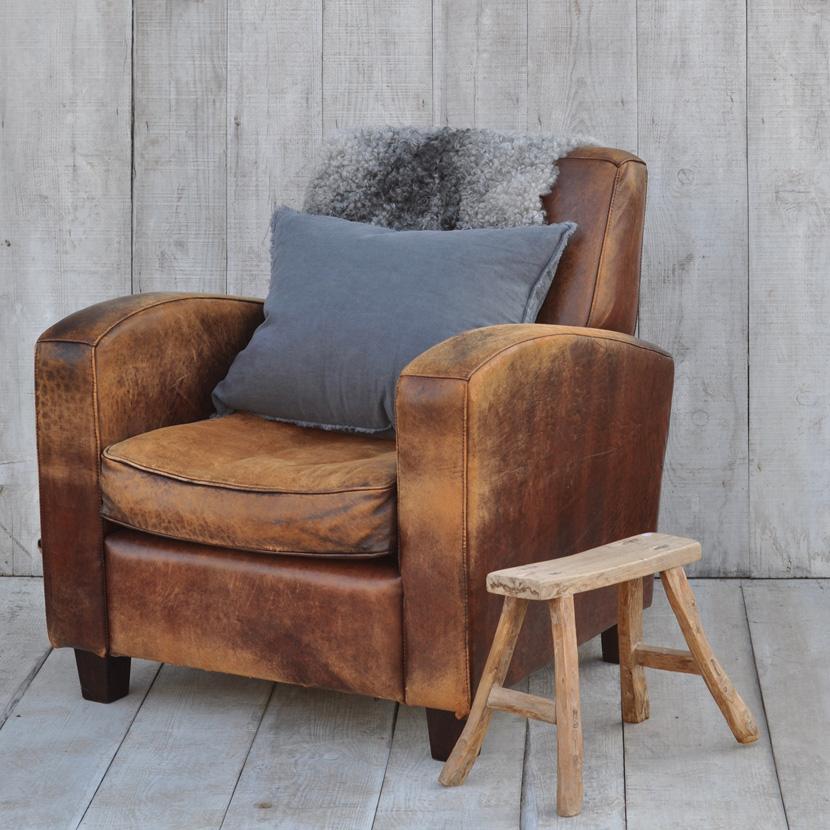 Vintage Leather Club Chair Home Barn Vintage