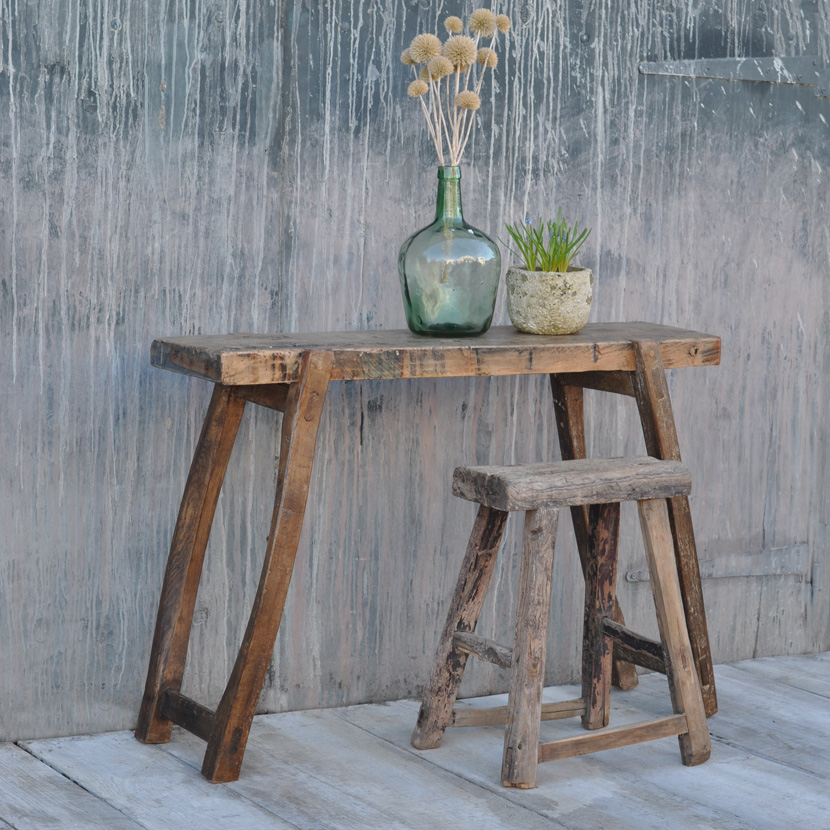 Home Barn Vintage Antique Rustic Console Table Workbench