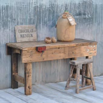 vintage industrial pine workbench table