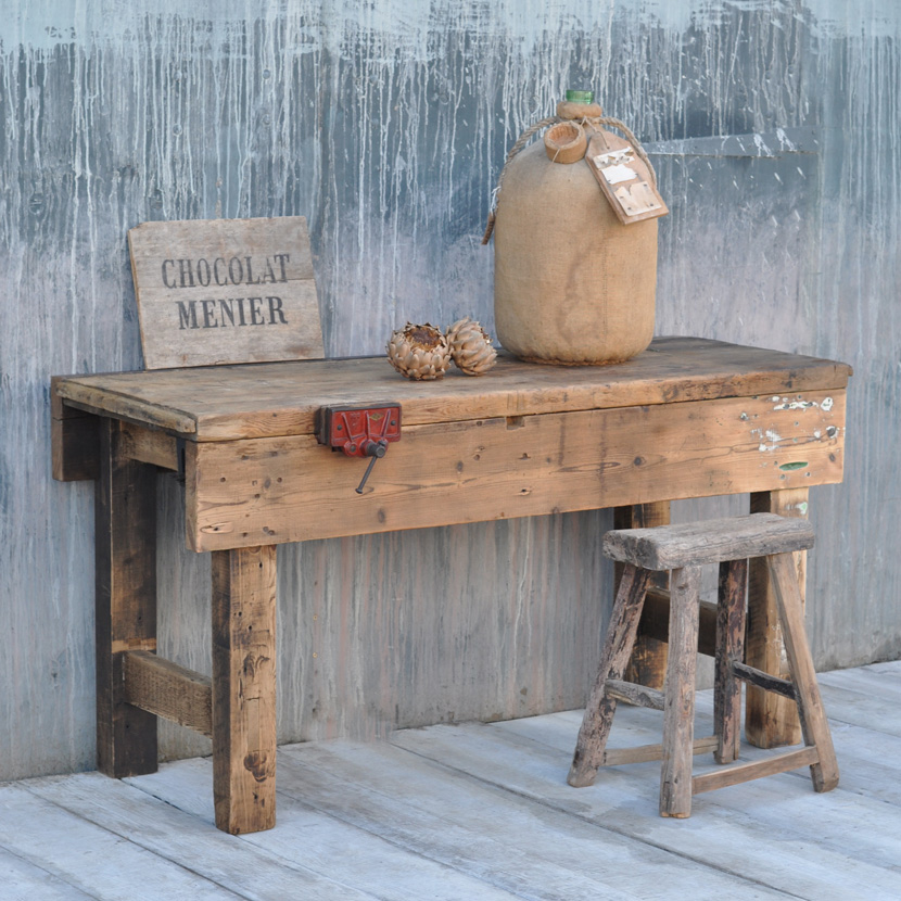 vintage industrial pine workbench table