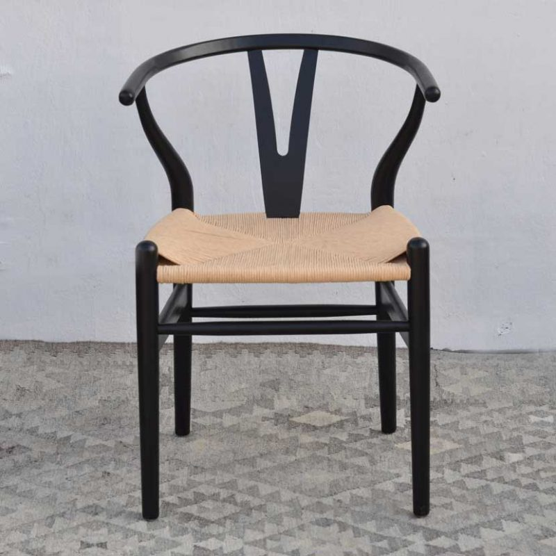 Danish Modern Black Dining Chair With Woven Seat