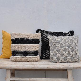 Hand Woven Textured Geometric Cushion