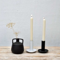black or white ceramic candle holder