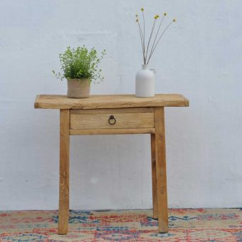 reclaimed rustic elm console table with drawer