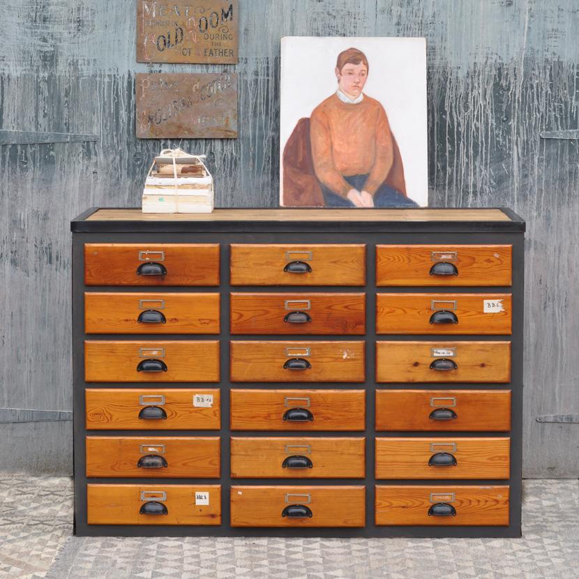 Vintage Industrial Multi Drawer Cabinet, Wooden Multi Drawer Cabinet