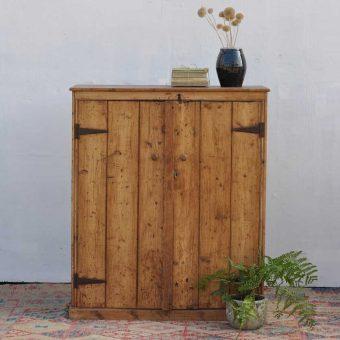 vintage old pine school cupboard