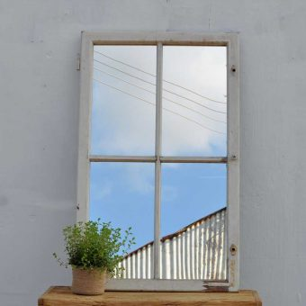 vintage timber window mirror