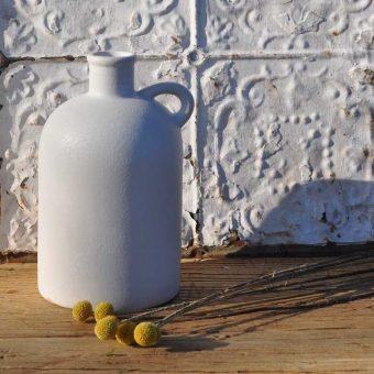 white ceramic matte finish vase