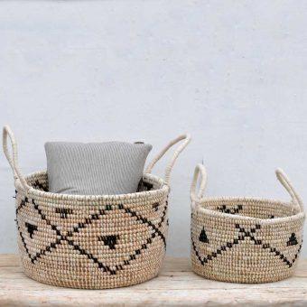 woven round storage basket
