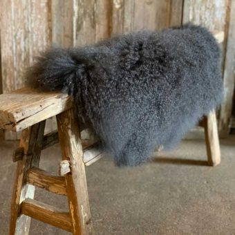 Dark Grey Tibetan Curly Sheepskin Throw Rug
