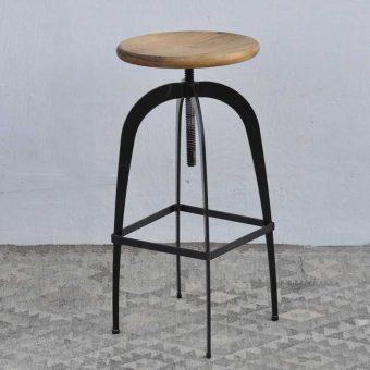 Industrial iron leg bar stool