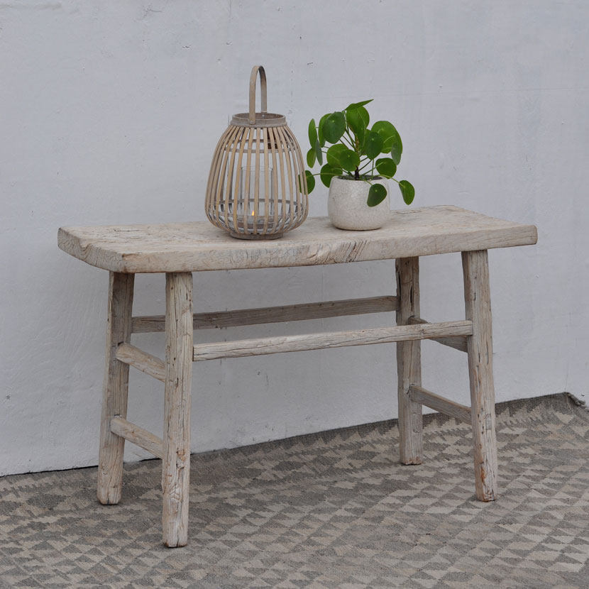 White Rustic Elm Console Table