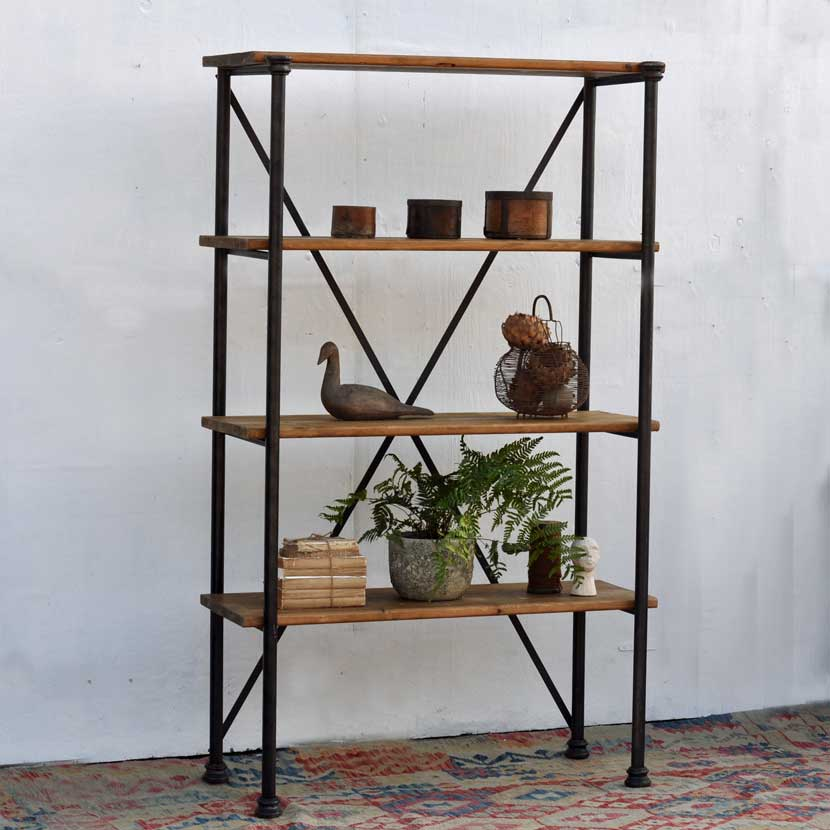 Industrial Metal Open Shelving Unit Home Barn Vintage