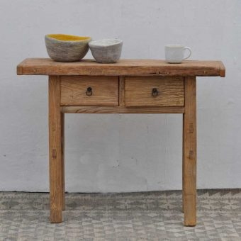 rustic elm console with two drawers
