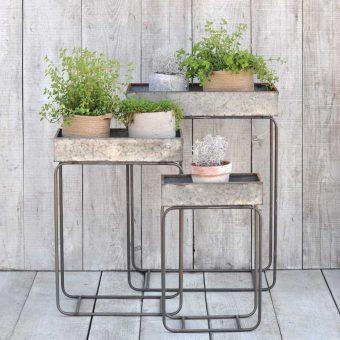 zinc planter boxes on stands