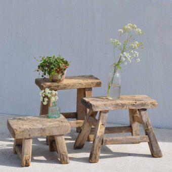 Antique rustic miniature elm stool