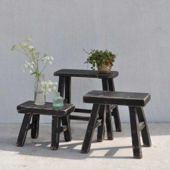 Antique rustic miniature elm stool in black