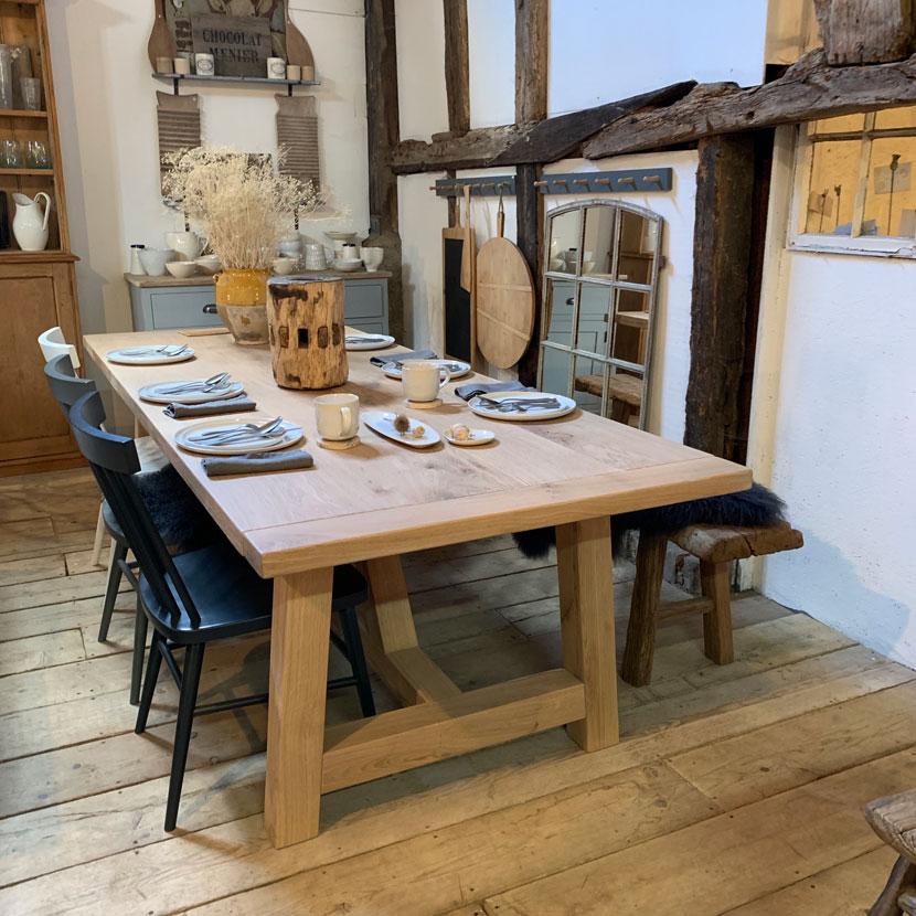 Modern Rustic Oak Dining Table Home Barn Vintage Legs