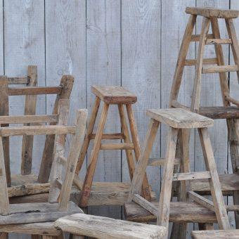 rustic wood vintage stool