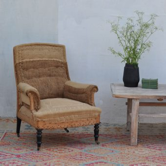 antique deconstructed hessian chair