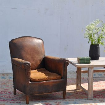 antique french leather armchair