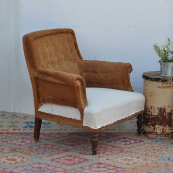 antique hessian chair with calico seat