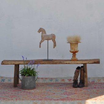 reclaimed waney edge bench