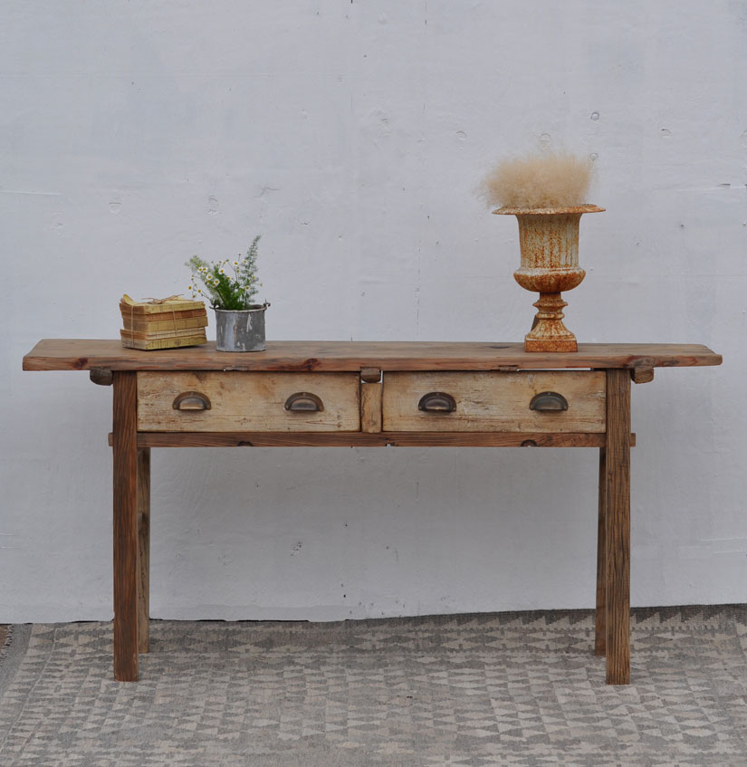 rustic reclaimed two drawer console table