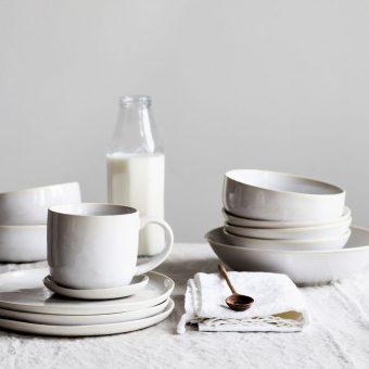 white glazed stoneware dinner service