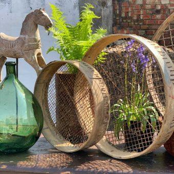 wooden vintage garden sieve