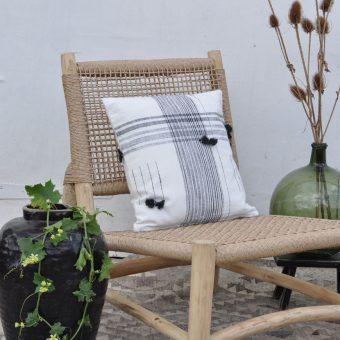 Cotton Monochrome Tassel Pillow