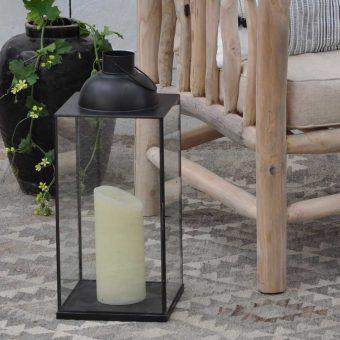 Garden Lantern Glass and Antique Black