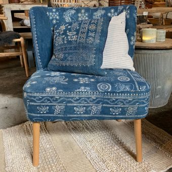 Indigo Armchair | Blue Vintage Fabric
