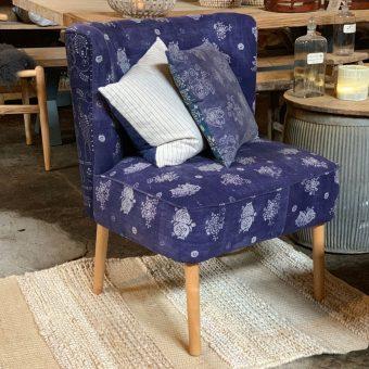 Indigo Armchair | Dark Vintage Fabric