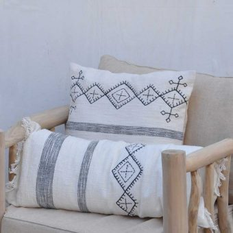 black and white scatter cushion with embroidery