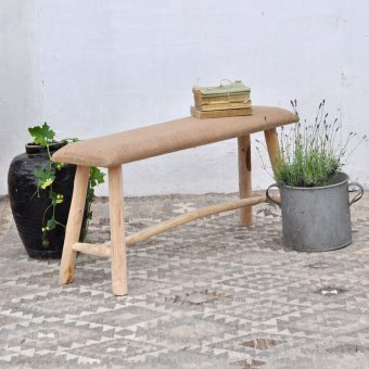 rustic hessian covered garden bench