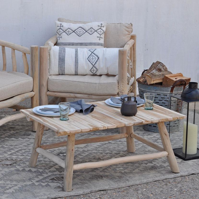 Rustic Wood Outdoor Garden Coffee Table, Wooden Coffee Table For Garden