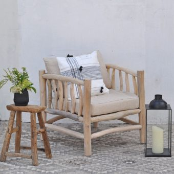 rustic wooden framed garden armchair