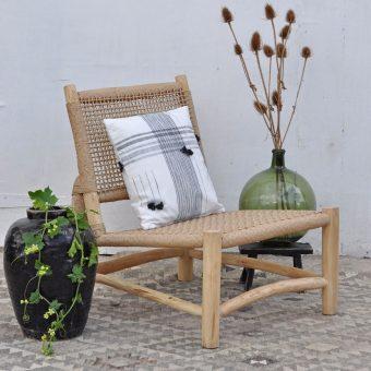 wooden framed woven garden chair